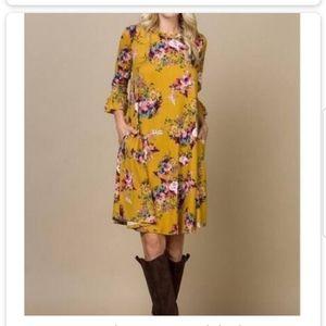 $3/24🌴CREPAS Mustard Floral Tunic/Dress Small